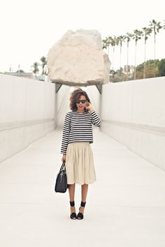 striped tee, gold skirt & ankle strap sandals #style #fashion