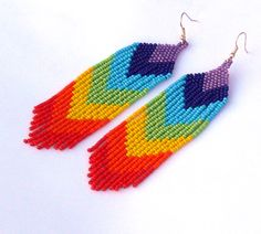 Chevron Earrings. Beaded Dangle Long Earrings. Rainbow Earrings.