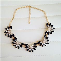 ✨Last One✨Black Flower Necklace Black Statement Necklace with Gold Chain. NWT. Ships same to next day. Bundle and save. Price is firm, unless bundled. Trades, Holds, PayPal. Jewelry Necklaces