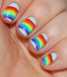 How To Paint Rainbow Nails. So easy and totally perfect for St. Patrick's Day!