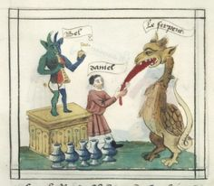 Bibliothèque nationale de France, Français 188, detail of f.17v (Daniel and Bel and the Dragon). Speculum humanae salvationis (15th century)