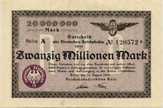 Banknote: Germany 20.000.000 Mark 1923 Koln No120572A Reichsbahn