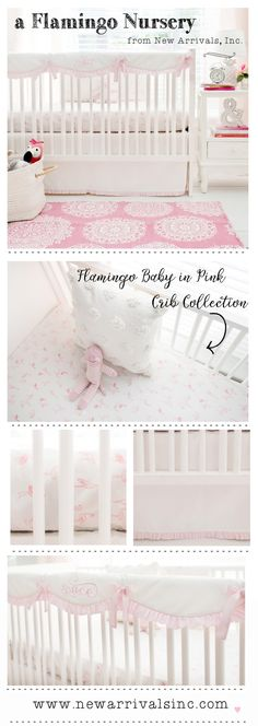 An adorable flamingo crib bedding collection for a sweet baby girl's nursery!
