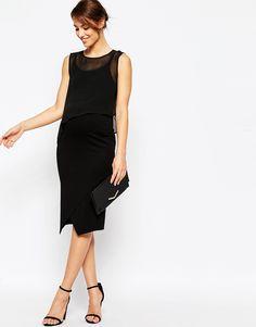 5ec76d5282054 ASOS Maternity NURSING Bodycon Midi Dress With Woven Overlay at asos.com