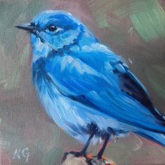 Summer Blue, Small gift idea for art lovers. Mountain Bluebird oil painting by Canadian Artist Kindrie Grove by KindrieGroveStudios on Etsy