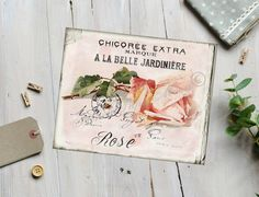 Vintage Shabby Chic Rose Download, French Digital Rose Image, Large Instant Digital Download, Rose Printable