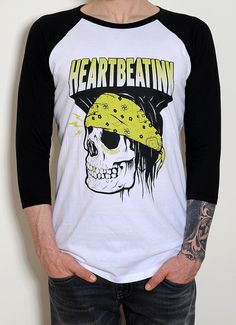 Men's Baseball Retro 3/4 Sleeve Tee Skull Print by HeartbeatInk
