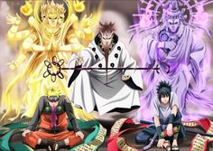 Sasuke and Naruto with Hogoromo the sage of the six paths