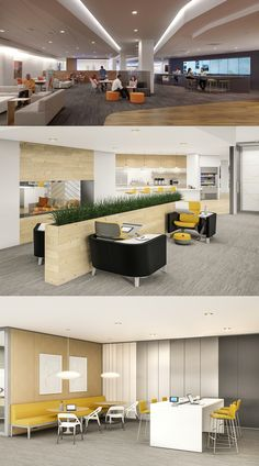 Explore our design solutions for the office cafeteria to provide your employees a multipurpose space where they can choose to socialize, relax, or collaborate. Office 2020, Open Office, Office Spaces, Office Designs, Office Ideas, Breakout Area, Reception Desks, Architecture Interiors, Commercial Design