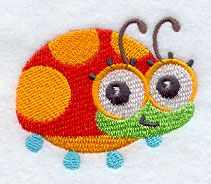 Wide-Eyed Baby Girl Ladybug design (F3077) from www.Emblibrary.com