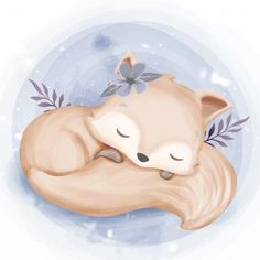 Foxy Baby Sleep Hugging Tail Stock Vector - Illustration of cute, colorful: 176940881 Baby Animal Drawings, Cute Drawings, Cute Images, Cute Pictures, Illustration Mignonne, Art Mignon, Cute Animal Illustration, Baby Art, Watercolor Animals