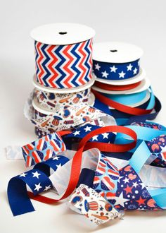 Red, White and Blue ribbons From Ribbons And Bows Oh My!   (http://www.ribbonandbowsohmy.com)