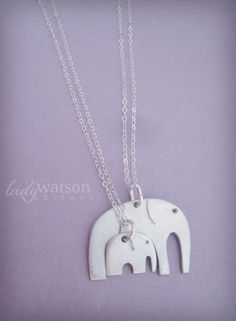 Mother Daughter Matching Elephant Necklaces, Mothers Day Necklace, Mother Daughter Jewelry, Interlocking Necklaces, Elephant Necklace on Etsy, $47.56 CAD