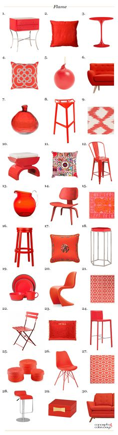 pantone flame, interior design product roundup, bright red interior, 2017 color trends, color for interiors