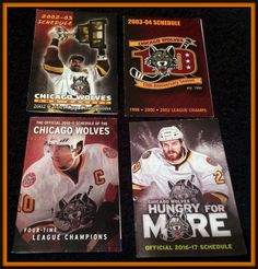 LOT OF 4 DIFFERENT CHICAGO WOLVES HOCKEY POCKET SCHEDULES 2002 2003 2010 2016  #Pocket #SCHEDULE