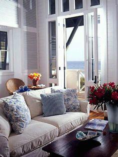 #blue #white #living #room #coastal #style