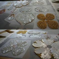 Making flowers by tambour beading. #tambourbeading #lunevilleembroidery #프랑스자수 #스팽글자수 #비즈자수 #자수수업 레벨4 Crystal Embroidery, Tambour Embroidery, Couture Embroidery, Paper Embroidery, Types Of Embroidery, Embroidery Stitches, Embroidery Designs, Flower Embroidery, Beading Patterns