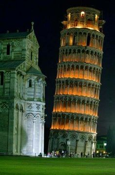 The Leaning Tower of Pisa.that's just what it looks like at night too! I love Pisa! Places Around The World, Oh The Places You'll Go, Travel Around The World, Places To Visit, Vacation Places, Places To Travel, Wonderful Places, Beautiful Places, Beautiful Buildings