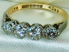 Fine 18k 18CT Gold & Platinum .80CT old cut diamond Diamond 1920s ring size L