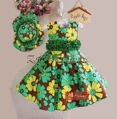 2014 nieuwe aankomst mode-ontwerp meisje jurken mooie zonnebloem patroon een- stuk jurk met mooie hoed inbegrepen gratis verzending