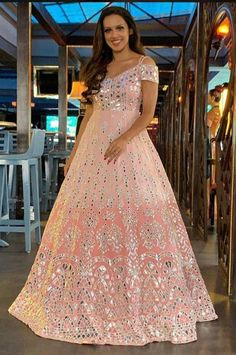 Items similar to Pure viscose shaded georgtte heavy thread embrodiery with gotta patti work anarkali gown on Etsy Indian Wedding Gowns, Indian Bridal Fashion, Indian Gowns, Indian Weddings, Indian Wear, Designer Bridal Lehenga, Bridal Lehenga Choli, Designer Party Wear Dresses, Indian Designer Outfits