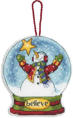 Believe Snowglobe (Christmas Ornament) - Cross Stitch Kit (there are more in this series)