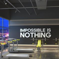 Impossible Is Nothing Gym Wall Art Quotes Gym Decor Gym & Etsy Office Wall Art, Office Walls, Gym Interior, Interior Modern, Academia Smart Fit, Gym Room At Home, Design Exterior, Home Gym Design, Basement Gym