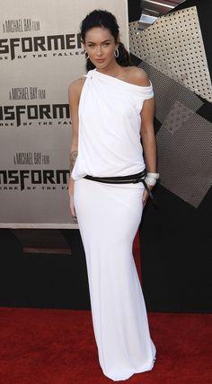 White jersey off-shoulder maxi dress with belt..