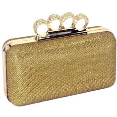 Dazzling Gold Glitter Lace Rhinestone Encrusted 4 Rings Closure Rectangle Hard Case Clutch Minaudiere Evening Cocktail Bag Baguette Handbag Purse w/Chain Strap,