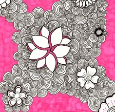 Pink Doodle Flowers