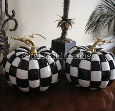 black and white check pumpkin hand painted fall halloween decoration centerpiece made to order listing for one pumpkin 75 x 7 - Black And White Halloween Decor
