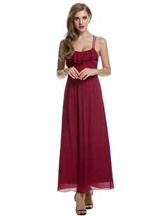 Meaneor Wine red Women Chiffon Backless Cross Strap Ruffles Long Maxi Going Out Dresses