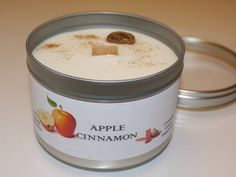 Apple and Cinnamon  Wood Wick Soya Wax Tin Candle by sylfora