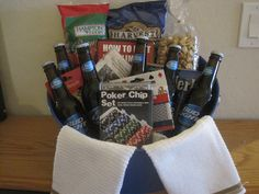"Poker ""Basket"" - Our major fund raiser this year was a Poker Tournament at Green Valley Station. Our winner, Jerry Pittman, won a seat at the World Series of Poker. We did have a couple of our Kiwanis members enter the tournament, but in order to give some more experience to you, we have a poker party basket to help you practice."