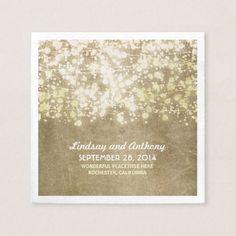 String lights vintage golden glitter paper napkins