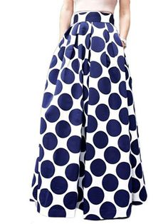 Cheap clothing blouse, Buy Quality clothing projects directly from China skirt hanger Suppliers: Spring Autumn Navy Blue High Waist Polka Dots Print Pleated Maxi Skirt Fall Contrast Casual A Line Skater 2017 Women Clothing Maxi Skirts For Women, Printed Maxi Skirts, Long Maxi Skirts, Pleated Maxi, Women's Skirts, Black Skirts, Skater Skirts, Pleated Fabric, Maxi Skirt Fall