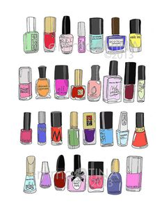 30 Nail Polishes Fashion Illustration Art Print by emmakisstina