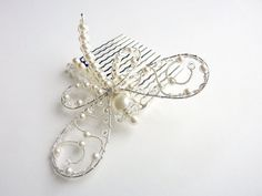 Dragonfly White Wedding Pearl  Hair Comb  by GemstoneDragonflies, $58.00