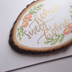 Hand Lettered Wooden Slice Art | Home Sweet Home Art | Painted Wood Slice Art | Wedding Decor | Modern Calligraphy | MADE TO ORDER