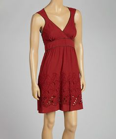 Look what I found on #zulily! Red V-Neck Cutout Dress by Anuna #zulilyfinds