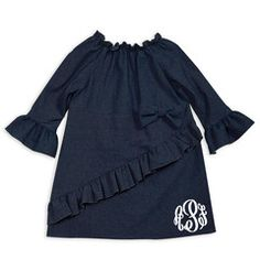 Check out this Dark Denim Ruffle Bow Dress for $34 or find your favorite gifts at Lolly Wolly Doodle. Click on the link to receive three dollars off your next order!