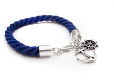 Silk Rope Nautical Bracelet Thick Navy Anchor by IskraCreations, $12.00