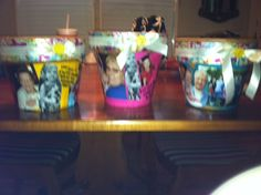 personalized flower pots with modge podge, pictures, scrapbook paper & ribbon for mother's day gifts