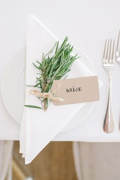 Chic & Stylish White & Craft Paper Wedding Herb Placesetting http://www.lisadevinephotography.co.uk/