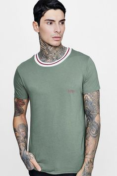 boohoo - MAN T-Shirt With Sports Rib - $12.00 Polo Shirt Style, T Shirt Vest, Famous Brands, Blouse Styles, Stylish Men, Online Shopping Clothes, Latest Fashion Trends, Boohoo, Blouses For Women