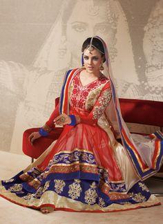 Princess Red & Cream Faux Georgette Net Anarkali Suit
