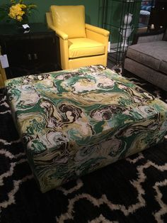 CR Laine Watercolor beauty  - ottoman in green, black and yellow. High Point Market Finds We Love at Design Connection, Inc. | Kansas City Interior Design http://www.DesignConnectionInc.com/Blog #InteriorDesign #HPMkt2014
