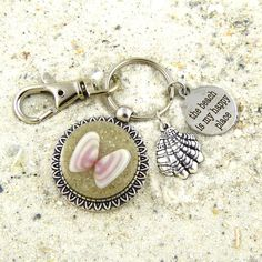 Seashell Keychain / Purse Charm with Beach Sand and Shell from Sanibel Florida by FloridaShellGirlShop on Etsy