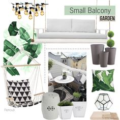Small Balcony Garden by rere-renove on Polyvore featuring interior, interiors, interior design, home, home decor, interior decorating, a&R, Legend of Asia, Torre & Tagus and HomArt