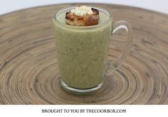 Broccoli and Feta Soup with Feta Croutons Recipe Box, Feta, Broccoli, Soup, Cooking, Tableware, Kitchen, Recipes, Cucina